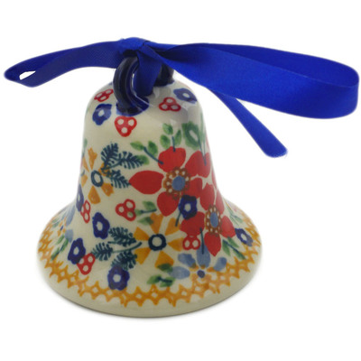 "Polish Pottery Bell Ornament 3"" Ruby Bouquet UNIKAT"