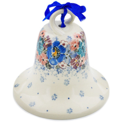 "Polish Pottery Bell Ornament 4"" Autumn Bunch UNIKAT"