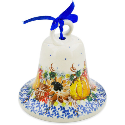 "Polish Pottery Bell Ornament 4"" Autumn Falling Leaves UNIKAT"