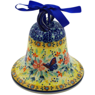 "Polish Pottery Bell Ornament 4"" Butterfly Summer Garden UNIKAT"