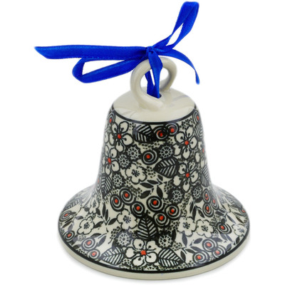 "Polish Pottery Bell Ornament 4"" Classic Black And White UNIKAT"
