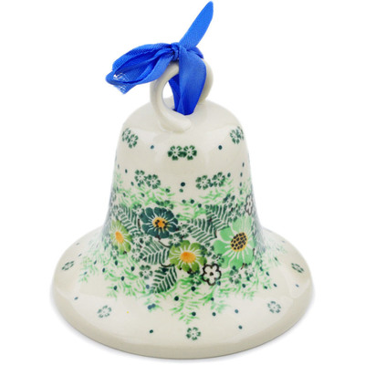 "Polish Pottery Bell Ornament 4"" Green Wreath UNIKAT"