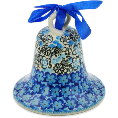 "Polish Pottery Bell Ornament 4"" Out Of Blue UNIKAT"