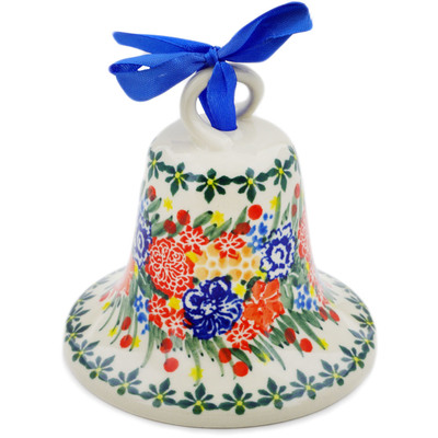 "Polish Pottery Bell Ornament 4"" Red Bouquet UNIKAT"