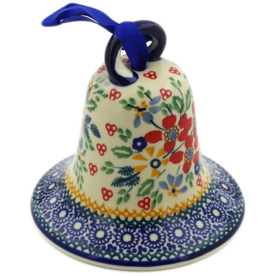 "Polish Pottery Bell Ornament 4"" Ruby Bouquet UNIKAT"