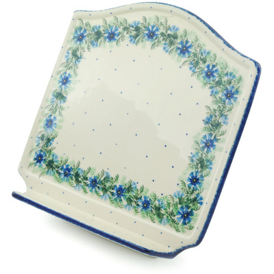 "Polish Pottery Book Stand 9"" Blue Bell Wreath"