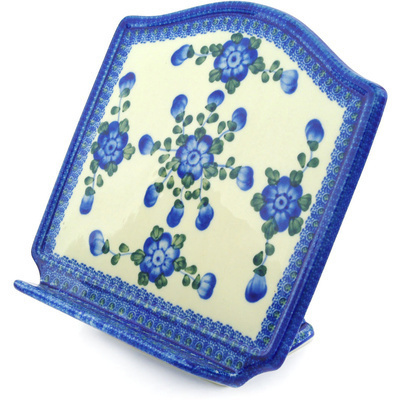 "Polish Pottery Book Stand 9"" Blue Poppies"