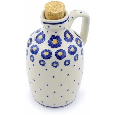 Polish Pottery Bottle 18 oz Blue Zinnia