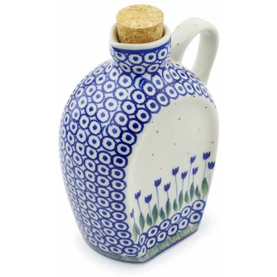 Polish Pottery Bottle 19 oz Blue Tulip Circle