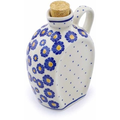 Polish Pottery Bottle 19 oz Blue Zinnia
