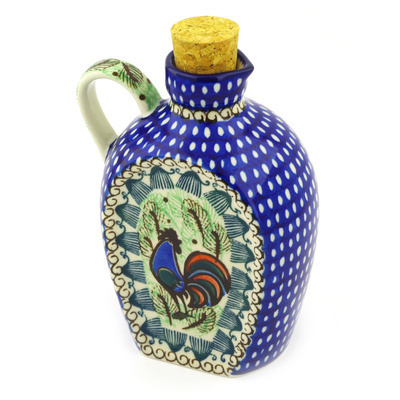 Polish Pottery Bottle 19 oz Rooster Row UNIKAT