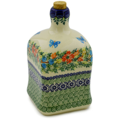 Polish Pottery Bottle 21 oz Ring Of Flowers UNIKAT