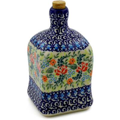 Polish Pottery Bottle 21 oz Rose Garden UNIKAT