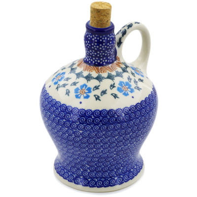 Polish Pottery Bottle 40 oz Blue Cornflower