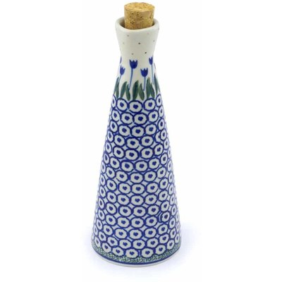 Polish Pottery Bottle 7 oz Blue Tulip Circle