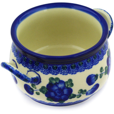Polish Pottery Bouillon Cup 12 oz Blue Poppies