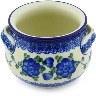 Polish Pottery Bouillon Cup 13 oz Blue Poppies