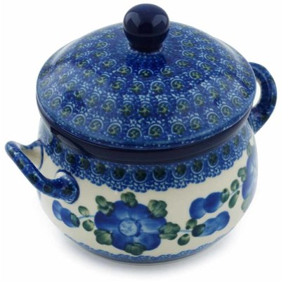 Polish Pottery Bouillon Cup with Lid 12 oz Blue Poppies