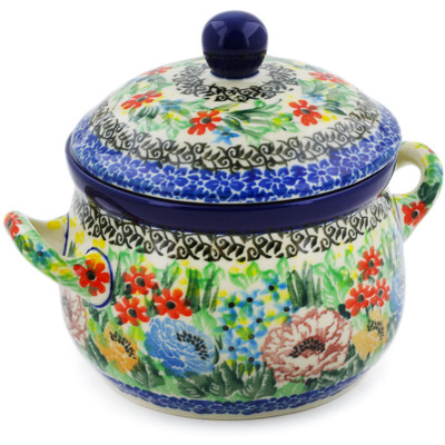 Polish Pottery Bouillon Cup with Lid 12 oz Carnation Valley UNIKAT