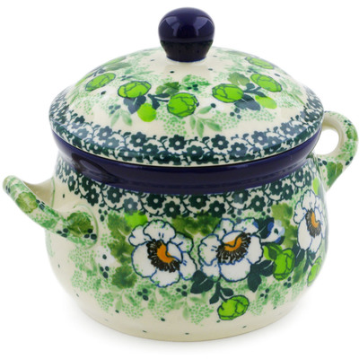 Polish Pottery Bouillon Cup with Lid 12 oz Daisies Wreath UNIKAT