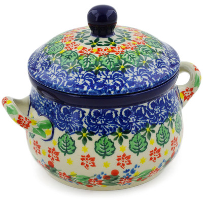 Polish Pottery Bouillon Cup with Lid 12 oz Red Bouquet UNIKAT