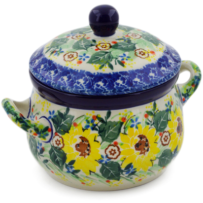 Polish Pottery Bouillon Cup with Lid 12 oz Yellow Garden UNIKAT