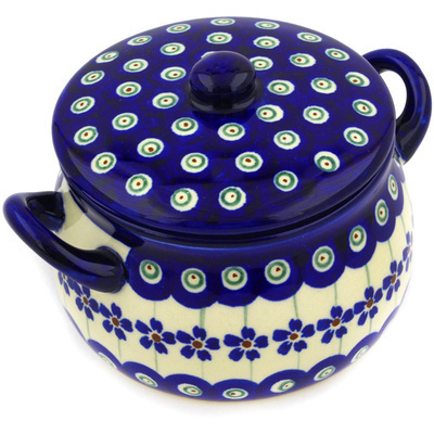 Polish Pottery Bouillon Cup with Lid 13 oz Flowering Peacock