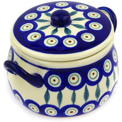 Polish Pottery Bouillon Cup with Lid 13 oz Peacock Leaves