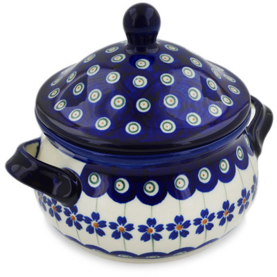 Polish Pottery Bouillon Cup with Lid 14 oz Flowering Peacock