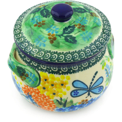 Polish Pottery Bouillon Cup with Lid 15 oz Garden Delight UNIKAT
