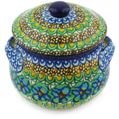 Polish Pottery Bouillon Cup with Lid 15 oz Mardi Gra UNIKAT