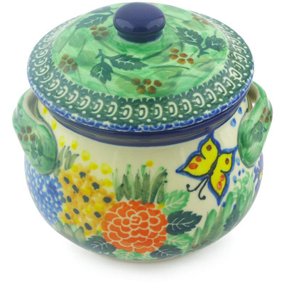 Polish Pottery Bouillon Cup with Lid 15 oz Spring Garden UNIKAT