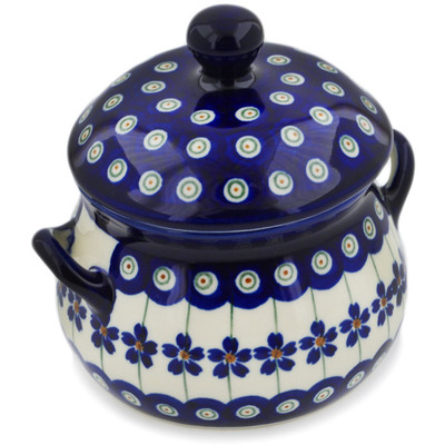 Polish Pottery Bouillon Cup with Lid 17 oz Flowering Peacock