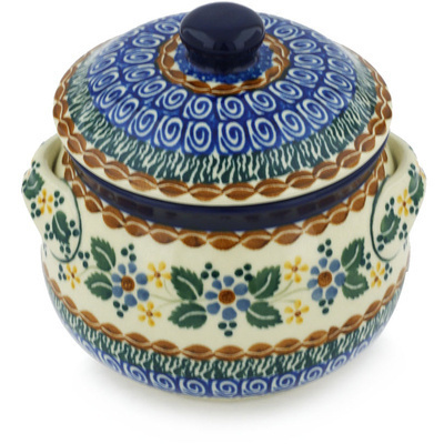 Polish Pottery Bouillon Cup with Lid 24 oz Marvellous Motif UNIKAT
