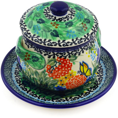 Polish Pottery Bouillon Cup with Lid and Saucer 13 oz Butterfly Garden UNIKAT