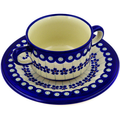 Polish Pottery Bouillon Cup with Saucer 13 oz Flowering Peacock