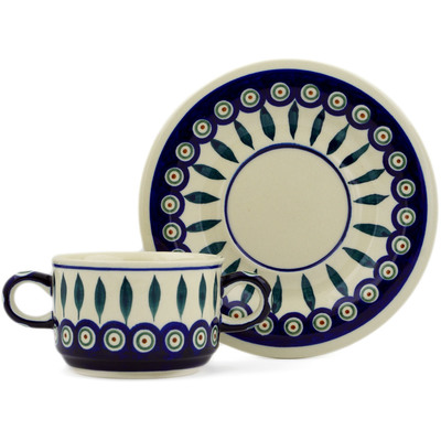 Polish Pottery Bouillon Cup with Saucer 13 oz Peacock Leaves