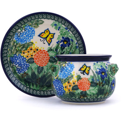 Polish Pottery Bouillon Cup with Saucer 16 oz Spring Garden UNIKAT