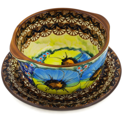 Polish Pottery Bouillon Cup with Saucer 16 oz Sweet Emotions UNIKAT