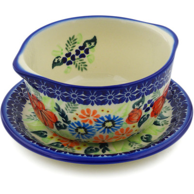 Polish Pottery Bouillon cup with saucer Bold Poppies UNIKAT