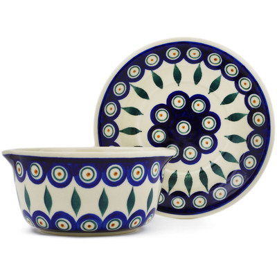 Polish Pottery Bouillon cup with saucer Peacock