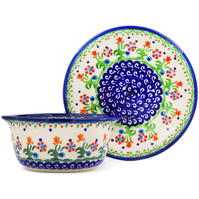 Polish Pottery Bouillon cup with saucer Spring Flowers