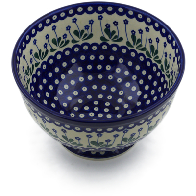 "Polish Pottery Bowl 10"" Forget-me-not Peacock"
