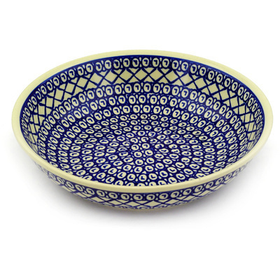 "Polish Pottery Bowl 10"" Lattice Peacock"