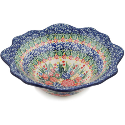 "Polish Pottery Bowl 10"" Red Bouquet UNIKAT"