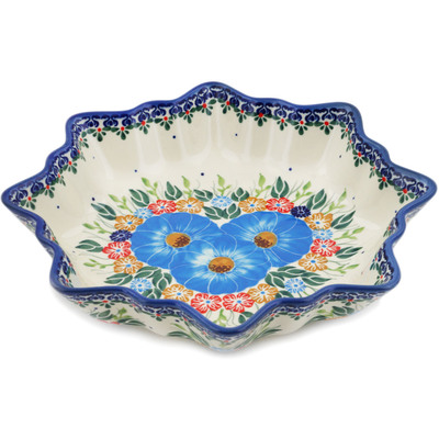"Polish Pottery Bowl 10"" Spring Bouquet"