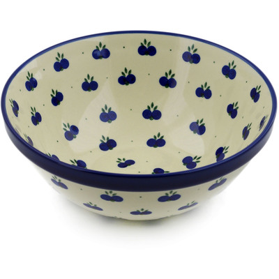 "Polish Pottery Bowl 10"" Wild Blueberry"