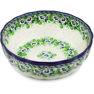 "Polish Pottery Bowl 11"" Daisies Wreath UNIKAT"