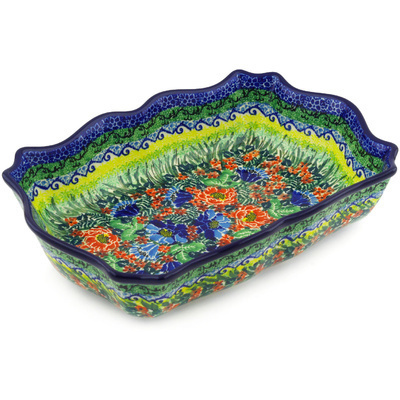 "Polish Pottery Bowl 11"" Floral Bounty UNIKAT"