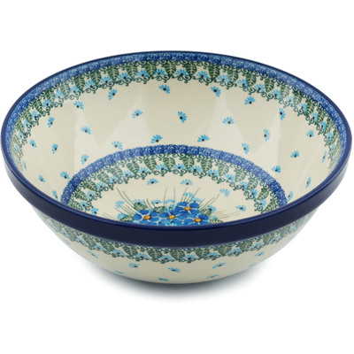 "Polish Pottery Bowl 11"" Forget Me Not"